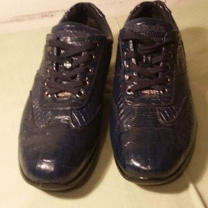 Pelle Pelle Navy Gator Leather Sneaker Men Sz 8.5